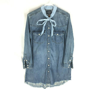 NEW Lucky Denim Western Shirt Dress Pearl Snaps Small Distressed Small NWT