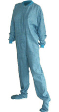 Turquoise & Yellow Flannel Adult Footed Pajamas Footie Drop Seat Womens PJs