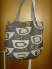 HANDMADE in atomic seedheads 50's print GREY 13.5in Tote BOOK bag shopper LINED