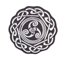 Iron or Sew On Embroidered Patch Celtic Knot Triskelion Triskele 8 cm