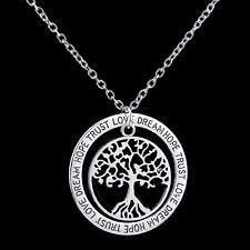 Edelstahl Anhänger Lebensbaum mit Text auf einer Kette