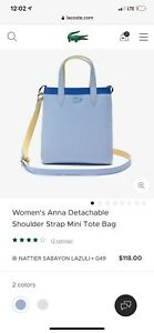LACOSTE Women's Anna Detachable Shoulder Strap Mini Tote Bag New