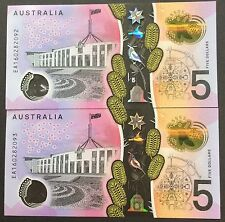 2016 Australia new $5 bank note -Consecutive pair EA160282092-93