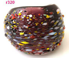1pc purple handwork painting polychrome speckle Lampwork Glass ring r320