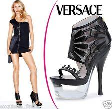 New VERSACE Black Leather Mesh Plexiglass Platform Boots Shoes 40-10
