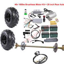 ATV Go Kart Rear Axle Wheels Assembly + Brushless 48v 1800w Electric Motor Kit