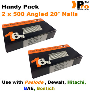 2 x 500 nail packs- size 38mm 16g ANGLED 20°  for Dewalt ,Paslode ,Hitachi
