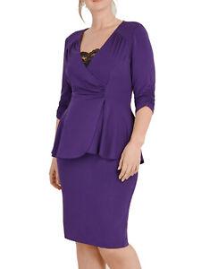 ex EVANS Scarlett & Jo PURPLE Jersey Peplum Dress 18 20 22 24 26 28 30 32