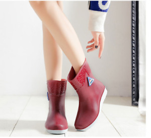 Shiny Rain Boots Waterproof Shoes Round Toe Walking Rubber Wellington Women Size