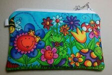 Whimsical Flowers and Frogs Handmade Change Coin Purse Gift Card Holder