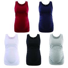 Maternity Pregnant Women Tank Tops Sleeveless T-shirt Vest Plain Ruched Blouse