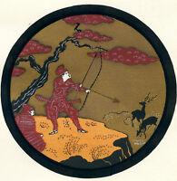 1930s French Pochoir Print Edouard Halouze Asian Japanese Samurai Hunters (S)