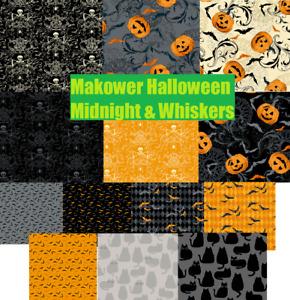 Makower Halloween Midnight Whiskers FQ & 1/2m cat bat skull pumpkin web free p&p