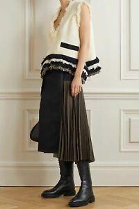 $995 Sacai NEW Plush Frayed Edges Tweed Swingy Asymmetric Top 3 Contrast Canvas