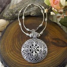 Vintage Jewelry Hollow Round Retro Flower Shield Pendant Tibetan Silver Necklace
