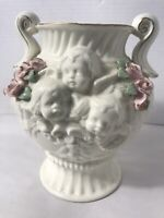 Antique Porcelain Vase/Planter Victorian hand painted 6 cherubs and Roses.   3EH