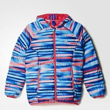 SIZE 13-14 YEARS OLD - ADIDAS PADDED AOP GIRLS HOODED BUBBLE JACKET - MULTI