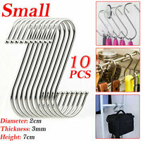 10X Small Stainless Steel Hanger Hanging S Hooks Kitchen Meat Pan Utensil Cloth