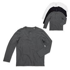 Stedman Herren Shawn Henley Shirt Long Sleeve Knopfleiste langarm S M L XL XXL