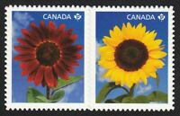 DIE CUT = SUNFLOWER = se-tenant pair from Booklet Canada 2011 #2444i MNH
