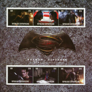 Central African Rep Superheroes Stamps 2016 CTO Batman v Superman 6v M/S I