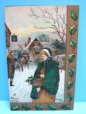 VTG 1900's EMBOSSED GOLD LEAF TRIM PC - WOMAN & BASKET ON CHRISTMAS EVE NOS-GMNY