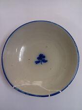 Lebrillo de Ceramica TALAVERA flor de patata Azul Siglo XIX Restaurada Grapas.