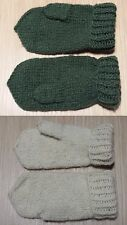 Kids baby mittens wool blend handmade Russian white green warm