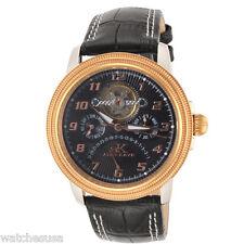 Adee Kaye Mens Black Dial Black Leather Strap Open Heart Watch AK8023-MRG