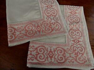 Pair YVES DELORME Boudoir Shams Sateen Cotton in Taupe with Red Arabesque Border