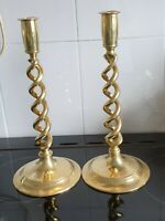Pair of Brass Victorian Barley Twist Candlesticks circa 1890s