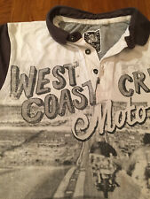 """Tu Polo Shirt with """"West Coast Crew motorcycle picture"""", brown and grey, boys 12"""