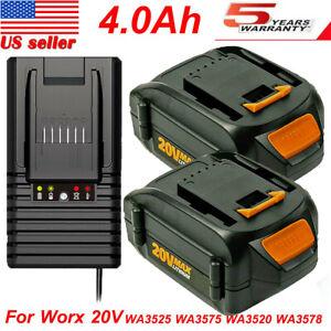 For WORX WA3520 20V Lithium Battery 4.0Ah WA3575 WA3525 WA3578 WG151s or Charger