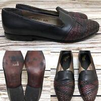 Womens ROSINA FERRAGAMO SCHIAVONE Brown & Black Leather Loafers Shoes SIZE 8.5 M