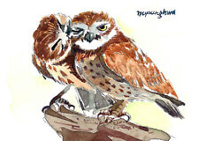 "ACEO Limited Edition- Bird Art print of an ACEO watercolor, ""Dear friends"", Owl"