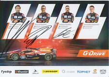 Rusinov, Vergne, Pizzitola Hand Signed G-Drive 2018 Le Mans Promo Card.