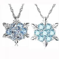 charme blue crystal gefrorene blume anhänger halskette schneeflocke versilbert