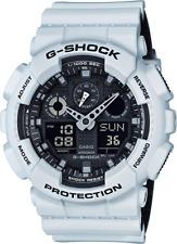 Casio G-Shock GA100L-7A White Resin Analog / Digital Black Dial 51mm Watch