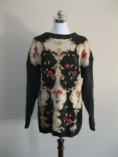 VINTAGE 80s 90s BLACK COTTON FLOWER FLORAL GRUNGE JUMPER 6 8 10 12