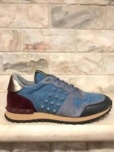 NIB Valentino Rockstud Mens Blue Denim Gold Low Top Runner Trainer Sneakers 39.5
