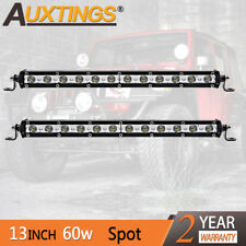 2XSuper Mini 13'' 60W Led Light Bar Spot Single Row Work Driving Lights 4x4 SUV