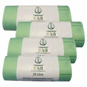 25 Litre x 100 CompostBag Compostable Food Waste Caddy Liner Bin Bags (25L)