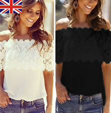 Women Lace Chiffon T Shirts Off Shoulder Summer Casual Ladies Blouse Shirts Tops
