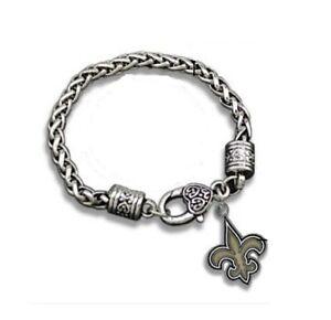 New Orleans Saints Football Fleur Charm Dangle Women's Fashion Clasp Bracelet
