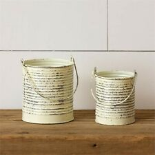 2 new distressed antiqued white small tin Buckets