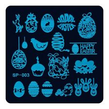 Nail Art Stamping Plate Image Decoration Happy Easter Bunny Rabbit Eggs (SP003)