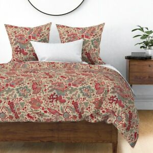 Historic Floral Red Vintage Antique Flowers Sateen Duvet Cover by Roostery
