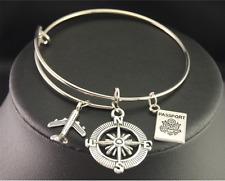 Aeroplane Traveler Wanderlust Compass World Keepsake Wire Charm Bangle Bracelet