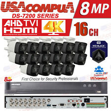 Hikvision 4K 8Megapixel Security System CCTV KIT 16CH  DVR 8MP Mini Bullet W/HDD