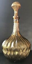 Vintage Genie Bottle Amber Glass Decanter Mid Century Italy MCM